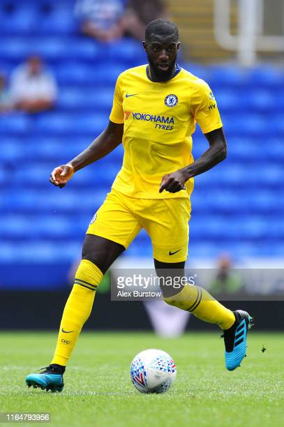 Tiemoue Bakayoko of Chelsea runs with the ball during the Pre-Season Friendly match between Reading and Chelsea at Madejski Stadium on July 28, 2019...