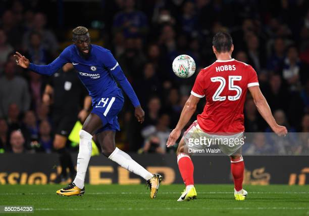 Tiemoue Bakayoko of Chelsea shoots during the Carabao Cup Third Round match between Chelsea and Nottingham Forest at Stamford Bridge on September 19...