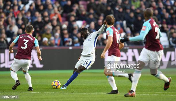 Tiemoue Bakayoko of Chelsea shoots during the Premier League match between West Ham United and Chelsea at London Stadium on December 9 2017 in London...