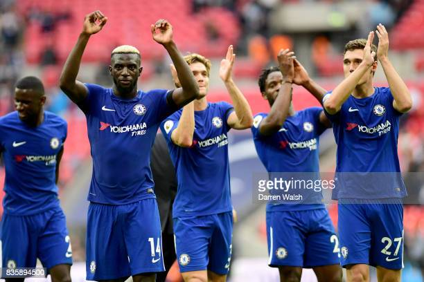 Tiemoue Bakayoko of Chelsea shows appreciation to the fans after the Premier League match between Tottenham Hotspur and Chelsea at Wembley Stadium on...