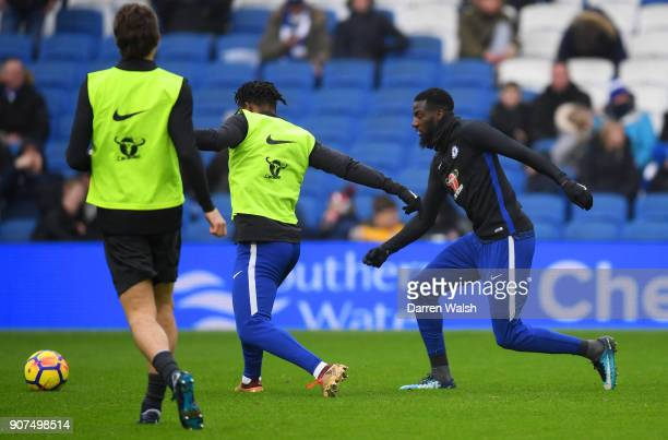 Tiemoue Bakayoko of Chelsea warms up with team mates prior to the Premier League match between Brighton and Hove Albion and Chelsea at Amex Stadium...