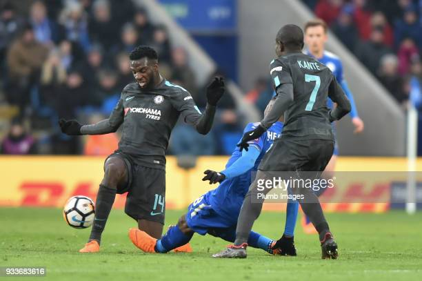 Tiemoue Bakayoko of Chelsea wins the ball during the FA Cup Sixth round match between Leicester City and Chelsea at The King Power Stadium on March...