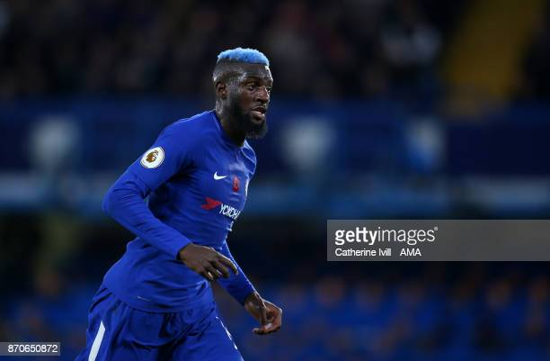 Tiemoue Bakayoko of Chelsea with blue hair during the Premier League match between Chelsea and Manchester United at Stamford Bridge on November 5...