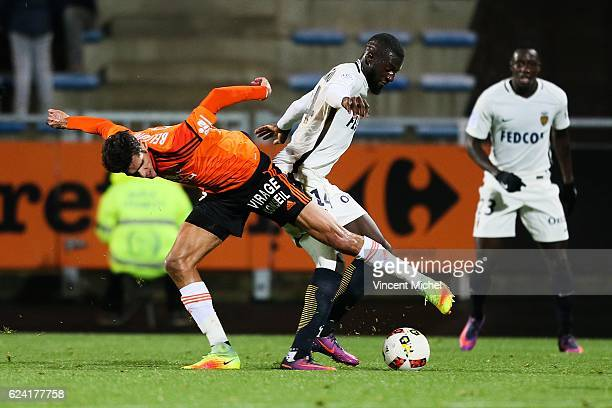 Tiemoue Bakayoko of Monaco and Francois Bellugou of Lorient during the Ligue 1 match between Fc Lorient and As Monaco at Stade du Moustoir on...