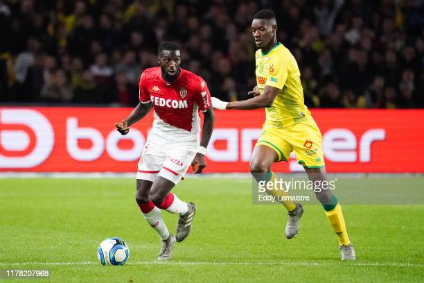 Tiemoue BAKAYOKO of Monaco and Ludovic BLAS of Nantes during the Ligue 1 match between Nantes and Monaco at Stade de la Beaujoire on October 25, 2019...