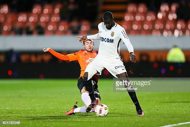 Tiemoue Bakayoko of Monaco and Romain Philippoteaux of Lorient during the Ligue 1 match between Fc Lorient and As Monaco at Stade du Moustoir on...