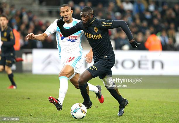 Tiemoue Bakayoko of Monaco and William Vainqueur of OM in action during the French Ligue 1 match between Olympique de Marseille and AS Monaco at...