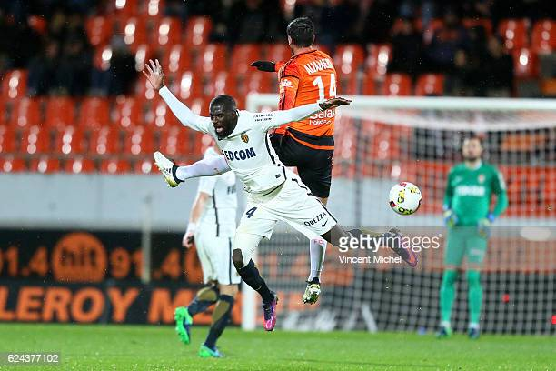 Tiemoue Bakayoko of Monaco ans Jeremie Aliadiere of Lorient during the Ligue 1 match between Fc Lorient and As Monaco at Stade du Moustoir on...