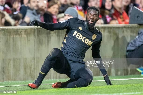 February 01: Tiemoue Bakayoko of Monaco during the Nimes V Monaco, French Ligue 1, regular season match at Stade des Costieres on February 1st 2020,...