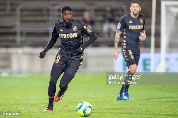 February 01: Tiemoue Bakayoko of Monaco in action during the Nimes V Monaco, French Ligue 1, regular season match at Stade des Costieres on February...