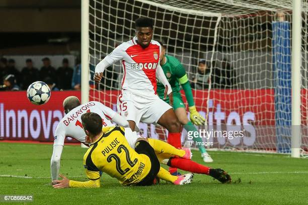 Tiemoue Bakayoko of Monaco Jemerson of Monaco and Christian Pulisic of Dortmund battle for the ball during the UEFA Champions League quarter final...