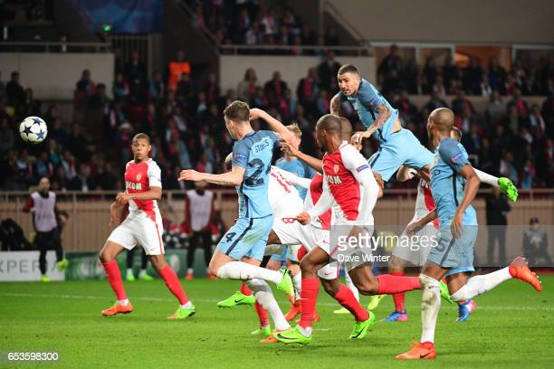 Tiemoue Bakayoko of Monaco puts his side 31 ahead during the Uefa Champions League match between As Monaco and Manchester City round of 16 second leg...