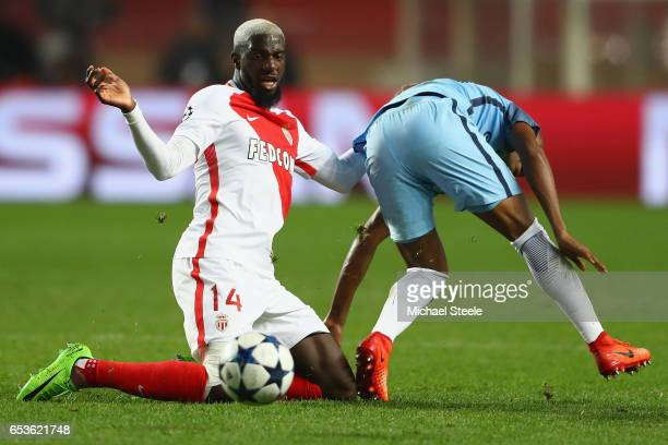Tiemoue Bakayoko of Monaco wins posession from Fernandhino of Manchester City during the UEFA Champions League Round of 16 second leg match between...