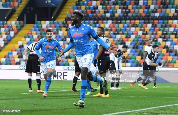 Tiemoue Bakayoko of S.S.C. Napoli celebrates after scoring their team's second goal during the Serie A match between Udinese Calcio and SSC Napoli at...
