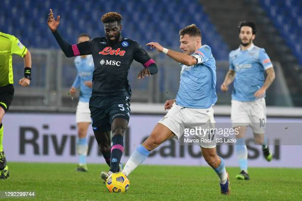 Tiemoue Bakayoko of SSC Napoli compte for the ball with Ciro Immobile of SS Lazio during the Serie A match between SS Lazio and SSC Napoli at Stadio...