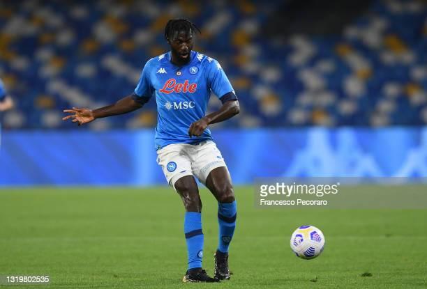 Tiemoue Bakayoko of SSC Napoli during the Serie A match between SSC Napoli and Hellas Verona FC at Stadio Diego Armando Maradona on May 23, 2021 in...