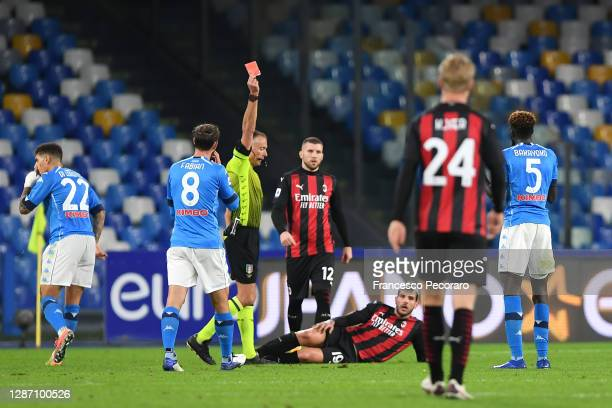Tiemoue Bakayoko of S.S.C. Napoli is shown a red card by referee Paolo Valeri during the Serie A match between SSC Napoli and AC Milan at Stadio San...