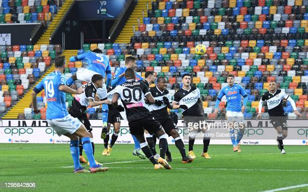 Tiemoue Bakayoko of S.S.C. Napoli scores their team's second goal during the Serie A match between Udinese Calcio and SSC Napoli at Dacia Arena on...