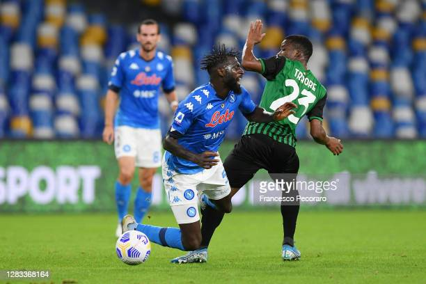 Tiemoue Bakayoko of SSC Napoli vies with Hamed Traorè of US Sassuolo during the Serie A match between SSC Napoli and US Sassuolo at Stadio San Paolo...