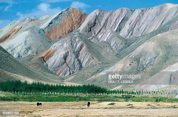 Tien Shan Mountains bordering China Kazakhstan and Kyrgyzstan China