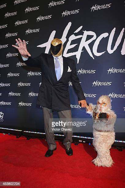 Tieneblas Jr and Alushe attend the Latin American Premiere of Paramount Pictures 'HERCULES' at Cinemex Antara on August 18 2014 in Mexico City Mexico