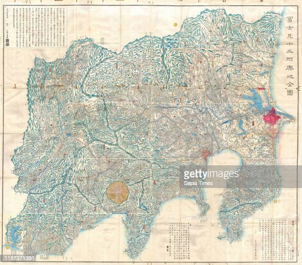 1843 Tienpo 14 Edo Period Map of Mt Fuji Tokyo and Vicinity