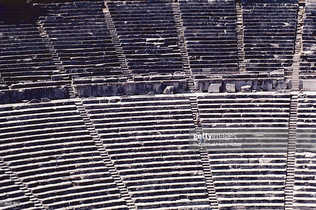 tiered rows of stone from the Colosseum in Rome : Foto de stock