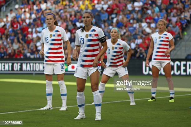 Tierna Davidson Alex Morgan Julie Ertz and Lindsey Horan prepare for a corner kick in the first half of a women's soccer match between Japan and USA...