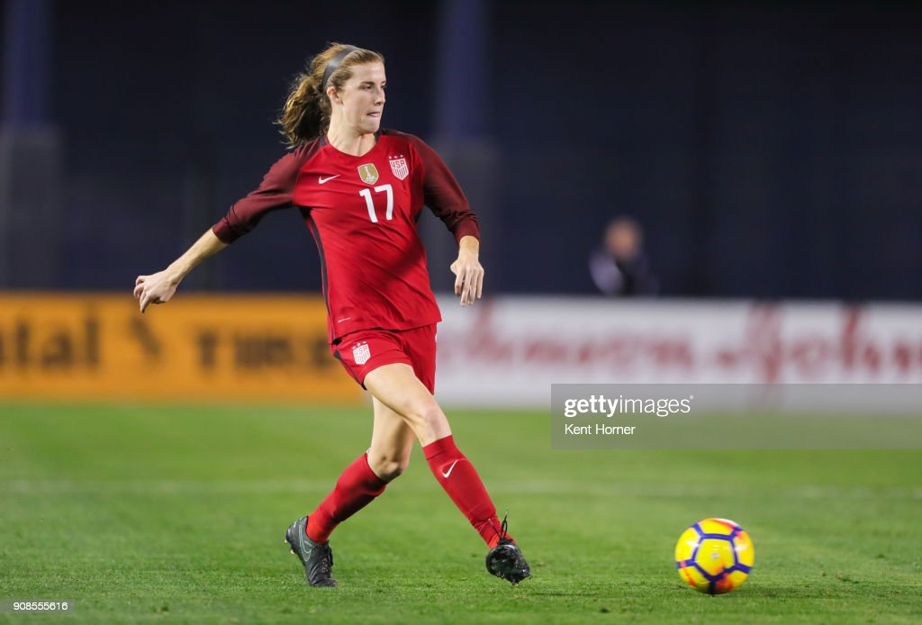 Tierna Davidson #17 of the U.S. women's national team passes the ball during the second half against the Danish women's national team at SDCCU Stadium on January 21, 2018 in San Diego, California.