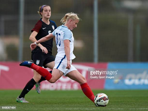 Tierna Davidson of USA competes for the ball with Beth England of England during the international friendly match between USA Women U23 and England...