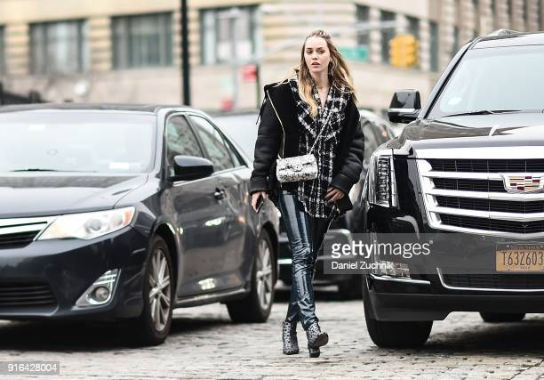 Tiernan Cowling is seen outside the Brock Collection show during New York Fashion Week Women's A/W 2018 on February 9 2018 in New York City