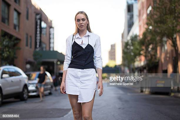 Tiernan Cowling is seen wearing Jaqumus YSL attending R13 during New York Fashion Week S/S 2017 on September 7 2016 in New York City