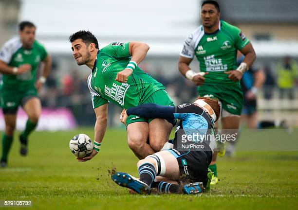 Tiernan O'Halloran of Connacht tackled by Robert Harley of Glasgow during the Guinness PRO12 rugby match between Connacht Rugby and Glasgow Warriors...