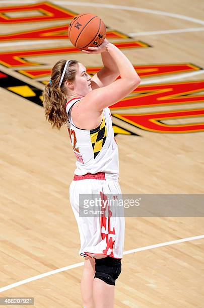 Tierney Pfirman of the Maryland Terrapins shoots the ball against the Delaware State Hornets at the Comcast Center on December 14 2013 in College...