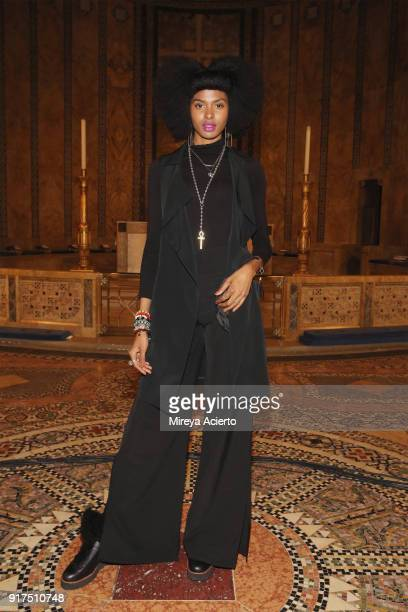 Tierra Benton attends the Dennis Basso fashion show at St Bartholomew's Church on February 12 2018 in New York City