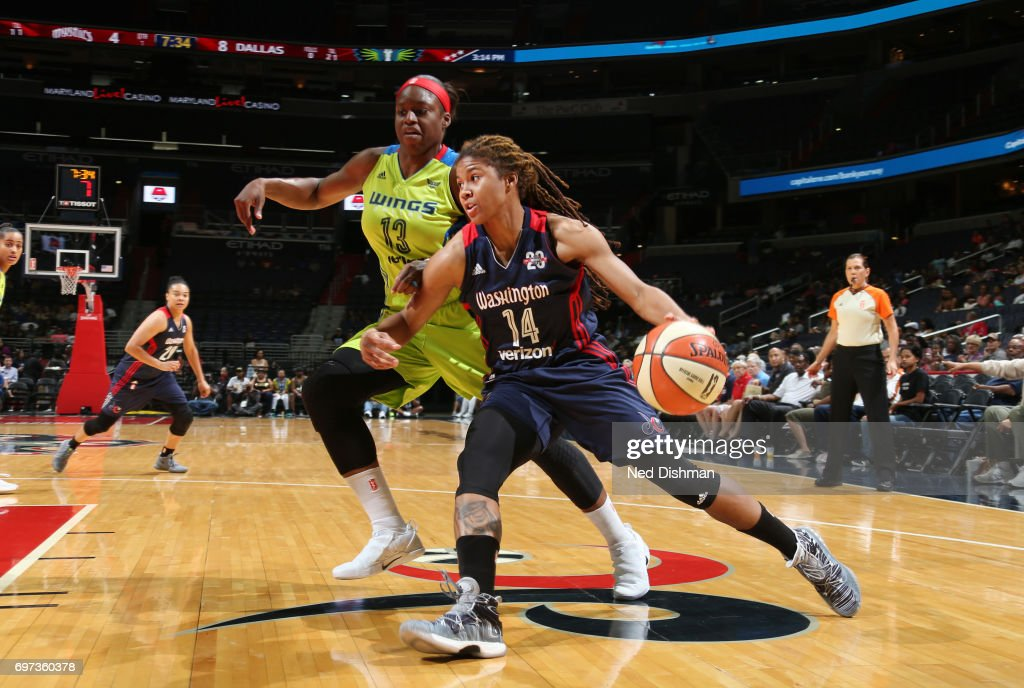 Tierra Ruffin-Pratt #14 of the Washington Mystics handles the ball during a game against the Dallas Wings on June 18, 2017 at the Verizon Center in Washington, DC.