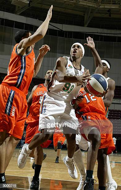 Tierre Brown of Charleston Lowgators scores against the Columbus Riverdragons at the North Charleston Civic Center February 20, 2004 in North...