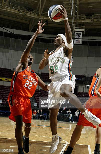 Tierre Brown of Charleston Lowgators shoots against Derrick Zimmerman of the Columbus Riverdragons at the North Charleston Civic Center February 20,...