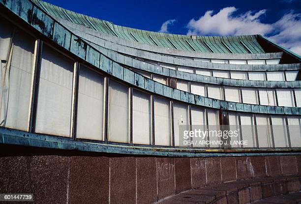 Tiers of the auditorium of the main building of Helsinki University of Technology 19551964 designed by Alvar Aalto Otaniemi Espoo Helsinki Finland...
