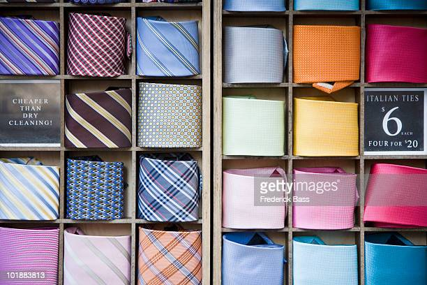 Ties arranged in a shop display