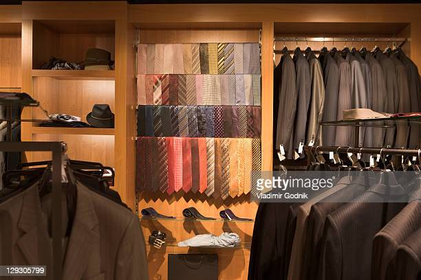 ties on display in a menswear store - men fashion stock photos and pictures