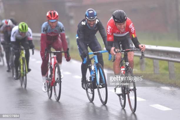 Tiesj Benoot of Belgium and Team Lotto Soudal / Alejandro Valverde of Spain and Movistar Team / during the 73rd Dwars door Vlaanderen 2018 a 180,1km...