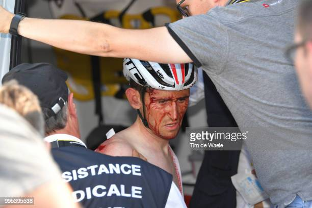 Tiesj Benoot of Belgium and Team Lotto Soudal / Crash / Injury / during the 105th Tour de France 2018, Stage 4 a 195km stage from La Baule to Sarzeau...