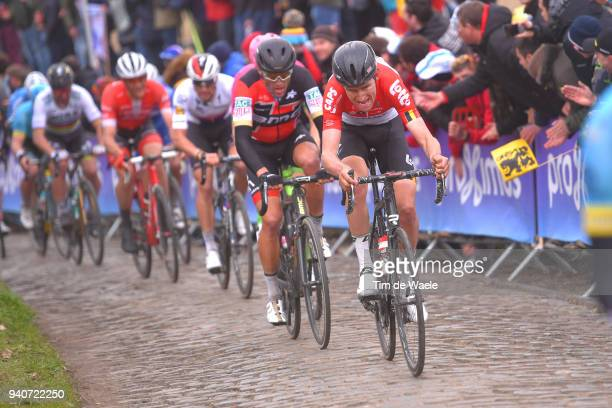 Tiesj Benoot of Belgium and Team Lotto Soudal / Greg Van Avermaet of Belgium and BMC Racing Team / Oude Kwaremont / during the 102nd Tour of Flanders...