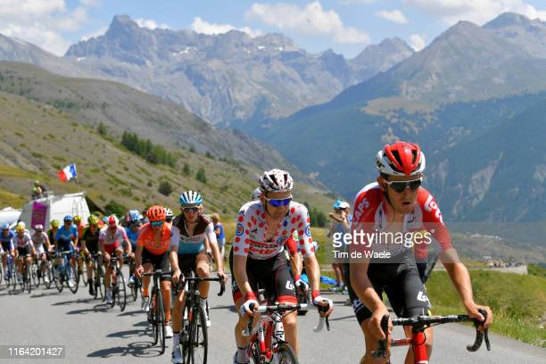 Tiesj Benoot of Belgium and Team Lotto Soudal / Tim Wellens of Belgium and Team Lotto Soudal Polka Dot Mountain Jersey / Romain Bardet of France and...