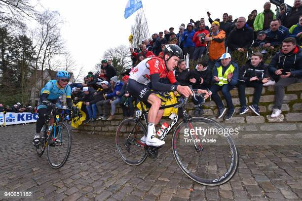 Tiesj Benoot of Belgium and Team Lotto Soudal / Wall of Geraardsbergen / De Muur / Fans / Public / during the 102nd Tour of Flanders 2018 - Ronde Van...