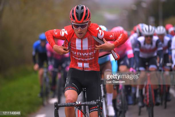 Tiesj Benoot of Belgium and Team Sunweb / Raincoat / during the 78th Paris - Nice 2020, Stage 1 a 154km stage from Plaisir to Plaisir / #ParisNice /...