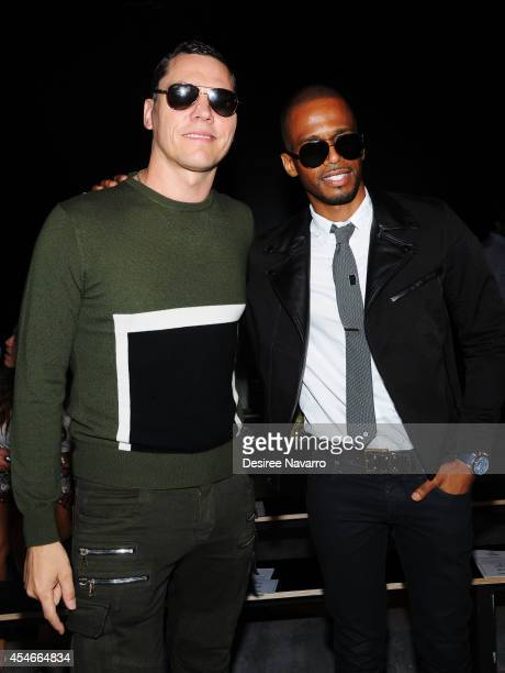 Tiesto and actor Eric West attend Todd Snyder during MercedesBenz Fashion Week Spring 2015 at The Pavilion at Lincoln Center on September 4 2014 in...