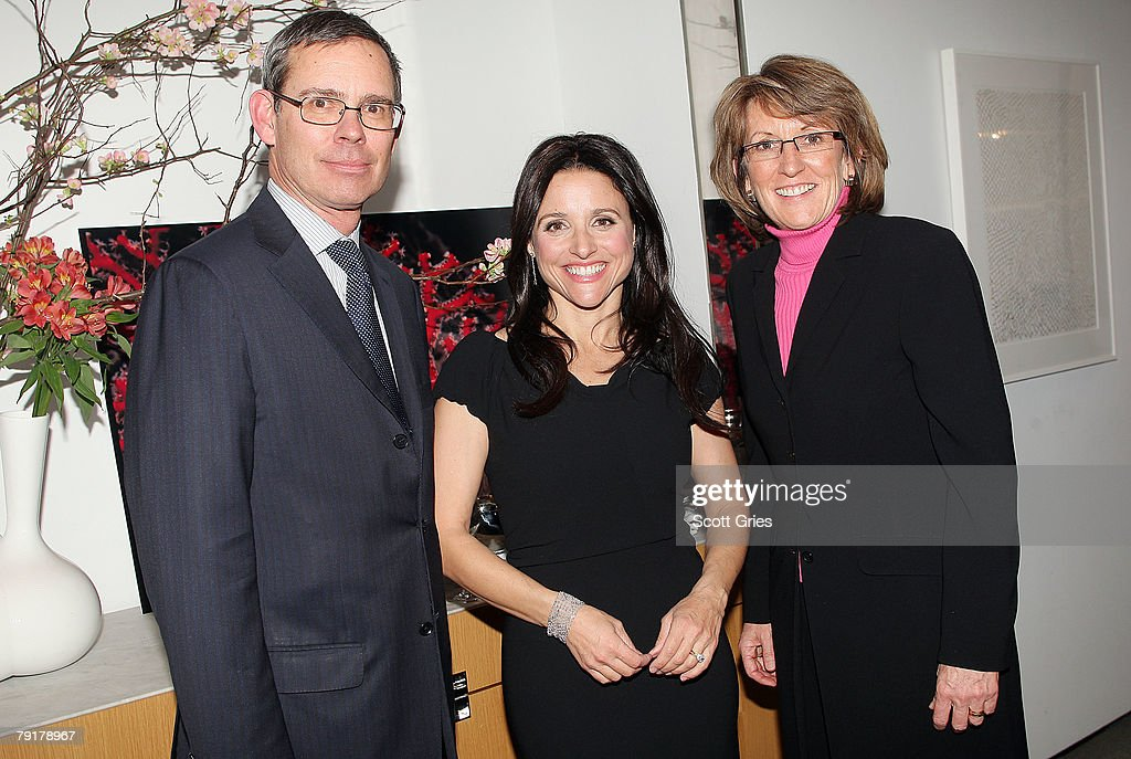 Tifanny CEO Michael Kowalski, actress Julia Louis-Dreyfus, and President of SeaWeb Dawn Martin attend The Tiffany & Co. Foundation's 'Too Precious To Wear' launch to raise awareness of threatened marine animals at MoMA on January 23, 2008 in New York City.