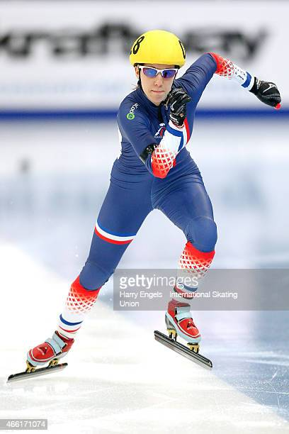 Tifany Huot Marchand of France sprints off from the start during the Ladies' 500m RRHeats on day two of the ISU World Short Track Speed Skating...